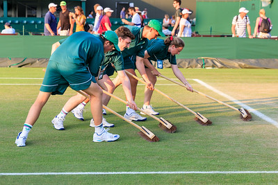 Court maintenance attendants swipe a Wimbledon grass court to preserve the lawn
