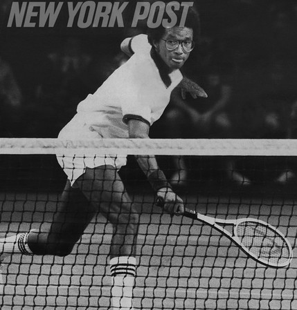 Tennis great, Arthur Ashe, returns the ball at the ATP Worls Tour Finals in 1979.