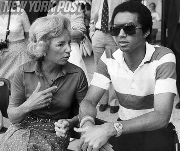 Arthur Ashe and Ethel Kennedy have a discussion. 1977