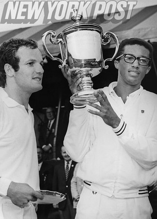 Arthur Ashe and Tom Okker, Top 2 at the First U.S. Open in Forest Hills. 1968
