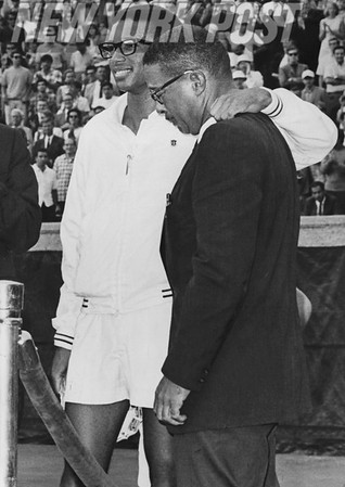 Arthur Ashe and his father Celebrate Win at First U.S. Open in Forest Hills. 1968