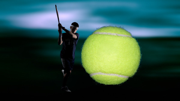 Tennis ball right at you