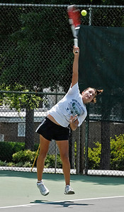 Erica Krisan serves the ball Saturday afternoon during the Southern Adult Hardcourt championships at Laurel Park in Marietta.