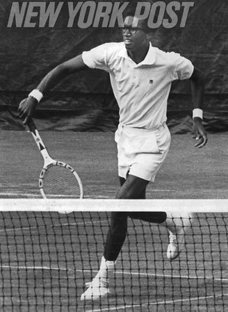 Arthur Ashe in action at the first U.S. Open Tennis Championship. 1968
