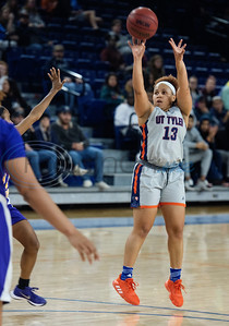 UT-Tyler basketball player Carah Burdette (13) shoots a basket as the Patriots play Texas College at home on Monday, Nov. 11, 2019.  (Sarah A. Miller/Tyler Morning Telegraph)