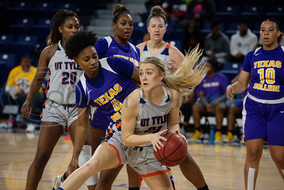 UT-Tyler basketball player Addyson Mosekey (21) saves the rebound as the Patriots play Texas College at home on Monday, Nov. 11, 2019.  (Sarah A. Miller/Tyler Morning Telegraph)