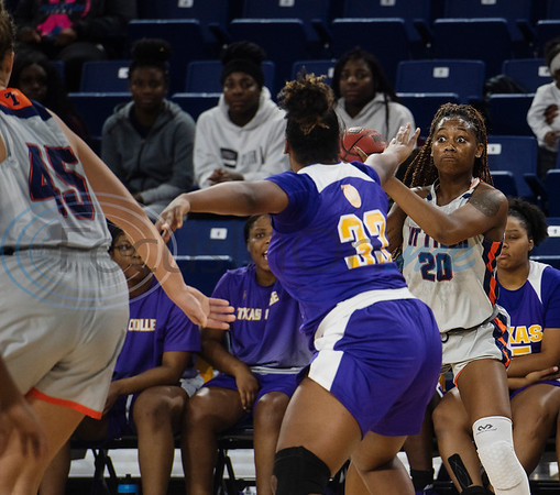 UT-Tyler basketball player Beezy Birchette (20) looks to make a pass as the Patriots play Texas College at home on Monday, Nov. 11, 2019.  (Sarah A. Miller/Tyler Morning Telegraph)