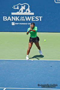 STANFORD UNIVERSITY, CA - JULY 31: Serena Williams, USA, plays in final game at the Bank of the West Classic vs. Marion Bartoli, FRA, on July 31, 2011 in Stanford, CA