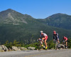 Phillip Gaimon, 23, leads Kevin Nicol & Ned Overend, above timberline, during the 2009 Mt. Washington Auto Road Bicycle Hillclimb, held Saturday, Aug. 15th. The Tucker Georgia resident went on to win the grueling 7.6 all uphill race up the 6,288 Mt. Washington in a time of 54:37, 16 seconds ahead of Mr. Overend, of Durango, Colorado, who clocked in at 54:53.