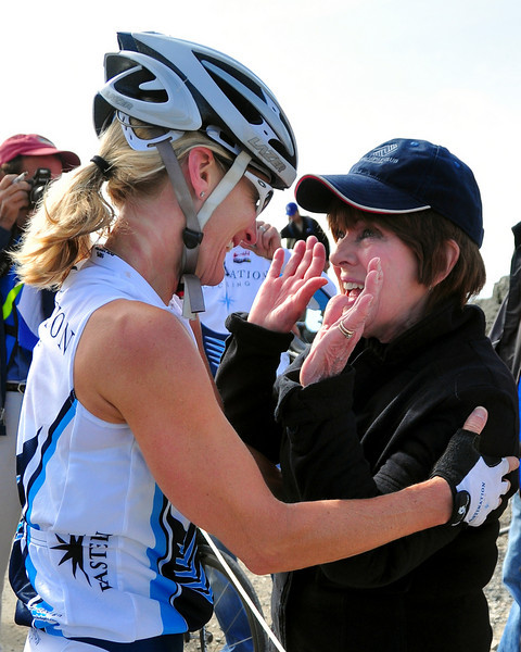 Irene Shea, right, congratulates her daughter Marti, who won The 38th Annual Mt. Washington Auto Road Bicycle Hillclimb, which was held on August 21st, 2010, in Gorham, New Hampshire. 600 cyclists raced up the grueling 7.6 mile Auto Road course, to the 6,288' summit of Mt. Washington, the highest peak in the Northeastern United States.