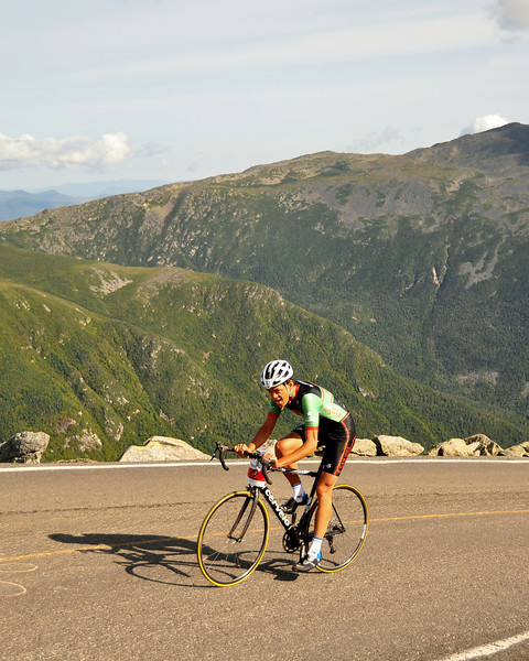 Nico Toutenhoofd, of Boulder, Colorado, finds himself all alone in front, during the final couple of miles of The 38th Annual Mt. Washington Auto Road Bicycle Hillclimb, which was held on August 21st, 2010, in Gorham, New Hampshire. 600 cyclists raced up the grueling 7.6 mile Auto Road course, to the 6,288' summit of Mt. Washington, the highest peak in the Northeastern United States. The 42 year old Toutenhoofd went on to clock a winning time of 57:26.