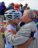 William Shea, right, hugs his daughter Marti, just after she won the women's division of The 38th Annual Mt. Washington Auto Road Bicycle Hillclimb, which was held on August 21st, 2010, in Gorham, New Hampshire. 600 cyclists raced up the grueling 7.6 mile Auto Road course, to the 6,288' summit of Mt. Washington, the highest peak in the Northeastern United States. Ms. Shea, 47, a former Manchester resident, now of Marblehead, MA, finished with a time of 1:05:42.
