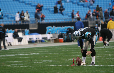Panthers Kickier Lloyd warms up. He started off by kicking field goals with Only One Step. He kicked a few, and then backed up. Soon his kicks were full-stride.