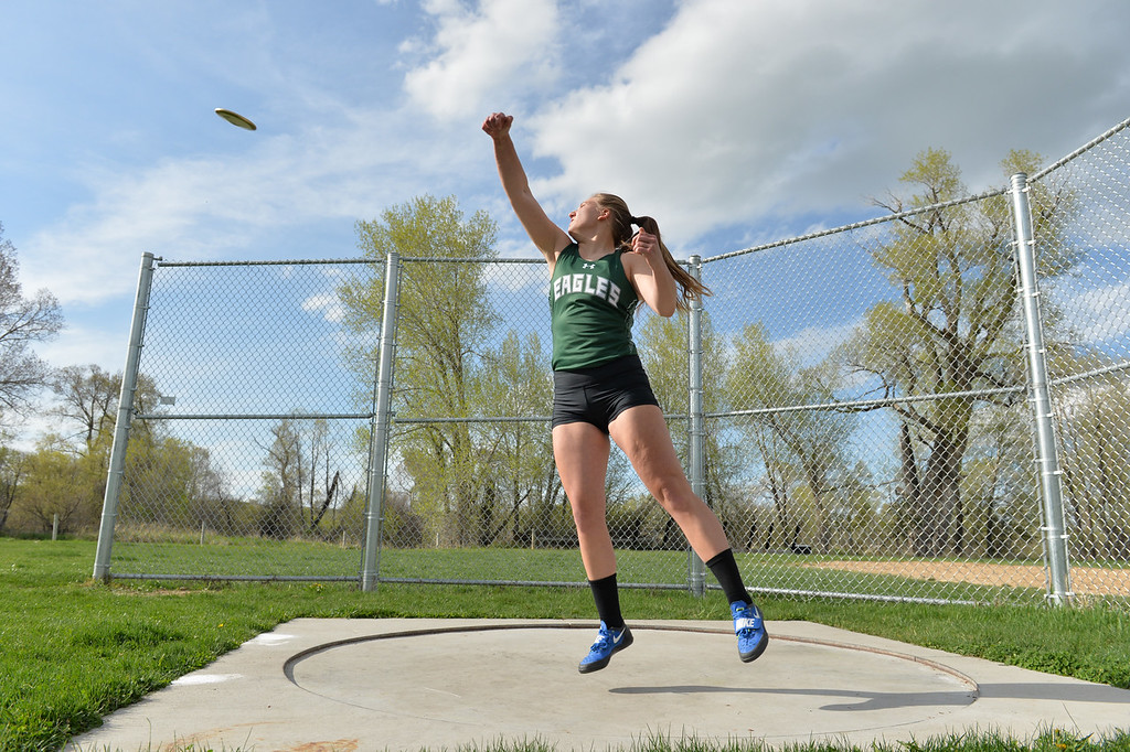 Justin Sheely | The Sheridan Press<br /> Tongue River High School's Courtney Good demonstrates the discus throw.