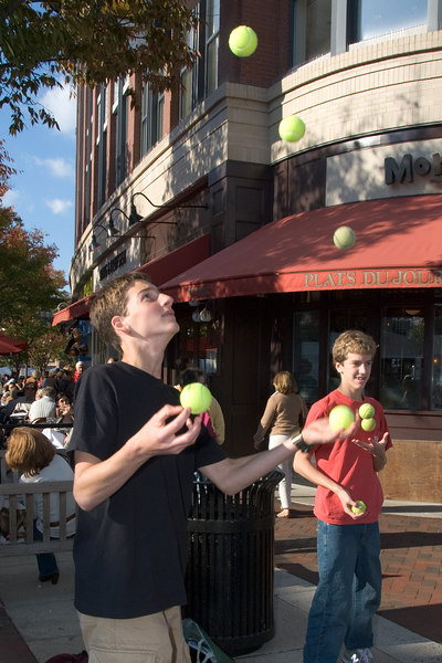 Bethesda Row Artist Festival -- David Sangillo, a student at BCC High School demonstrates and teaches juggling.