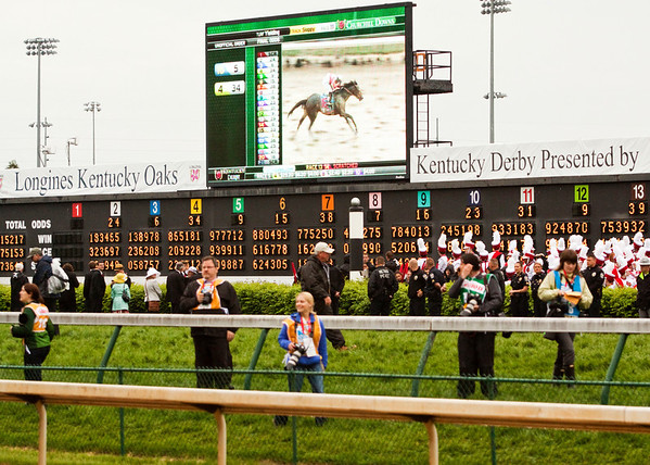 Derby horse Orb, carrying jockey Joel Rosario, is shown on a screen next to the track after winning the 139th Kentucky Derby at Churchill Downs in Louisville on Saturday. Staff photo by Christopher Fryer