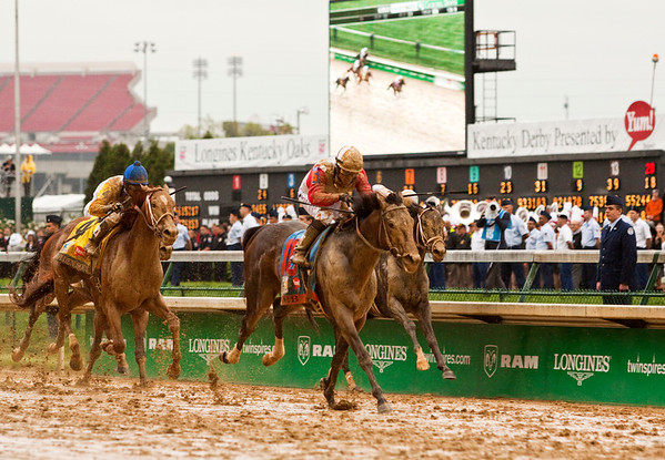 Derby horse Orb approaches the finish line carrying jockey Joel Rosario to win the 139th Kentucky Derby at Churchill Downs in Louisville on Saturday evening. Staff photo by Christopher Fryer