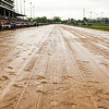 Water stands on parts of the track before the running of the 139th Kentucky Derby at Churchill Downs in Louisville on Saturday evening. Staff photo by Christopher Fryer