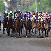 Riders of the 140th Kentucky Derby barrel down the track before reaching turn one at Churchill Downs on Saturday. <br /> Staff photo by Tyler Stewart