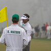 Bubba Watson's caddie at the Monday practice round at the Masters 2014