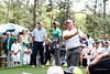 Fuzzy Zoeller, Tiger Woods and Steve Stricker at the number one tee. The Masters 2015.