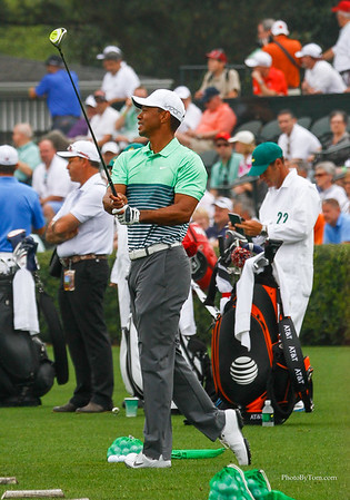 Tiger Woods on the practice Tees Wednesday. The Masters at Augusta National. Par Three was held this day and Tiger was there with his family.