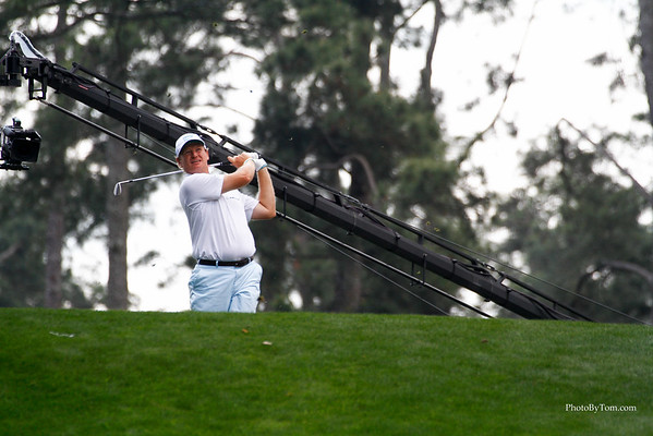 Ernie Ells tees off on number one tee for the par 3 championship at Augusta National Golf Course. Masters 2015