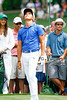 Ricky Fowler looks on as he barely misses a hole in one. The Masters 2015<br /> #rickyfowler