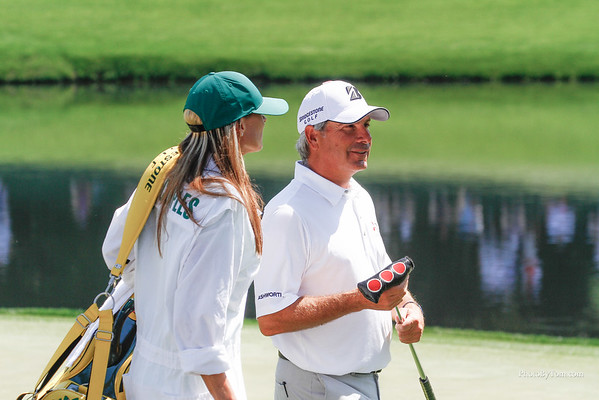 Fred Couples on the green during the par 3 contest at Augusta National. The Masters 2015.