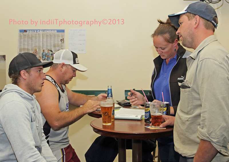New Captain/Coach Chris Rawlinson with Tony Worthy, chat to Brahmans Secretary Madaline Brayshaw and Club President Michael Brayshaw at the Hotel Binalong during the sign-on process 1st. February 2013.