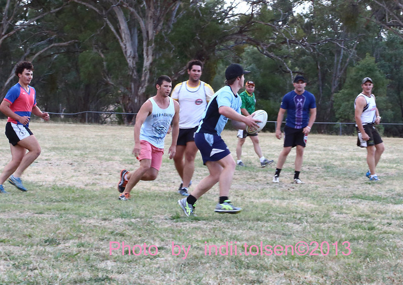 Left to right: Shaun Davis, Craig Irwin (on the burst) Adam Waters, Matt Cooke (with the ball), Dave Brown, Andrew Swaffield and Ben Spencer at the Brahman's first training session 1st February 2013.