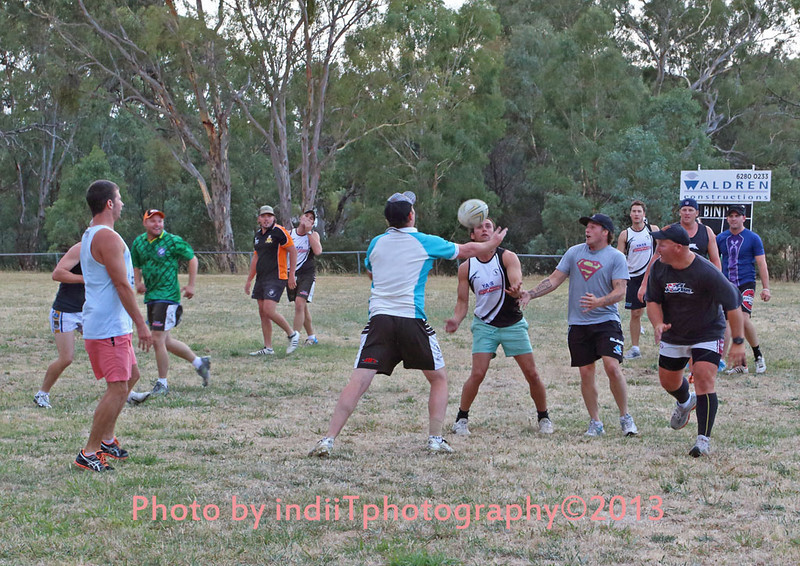 First team run. Sign-on day 1st February 2013. Matt Lawrence juggles the ball to new Captain Coach Chris (Superman) Rawlinson and Guy Sherrett, Craig Irwin (in a blue top) at left looks on while Dave Brown (in green)retreats. Brad Wylie (in Tigers strip) in the background with Ben Spencer.