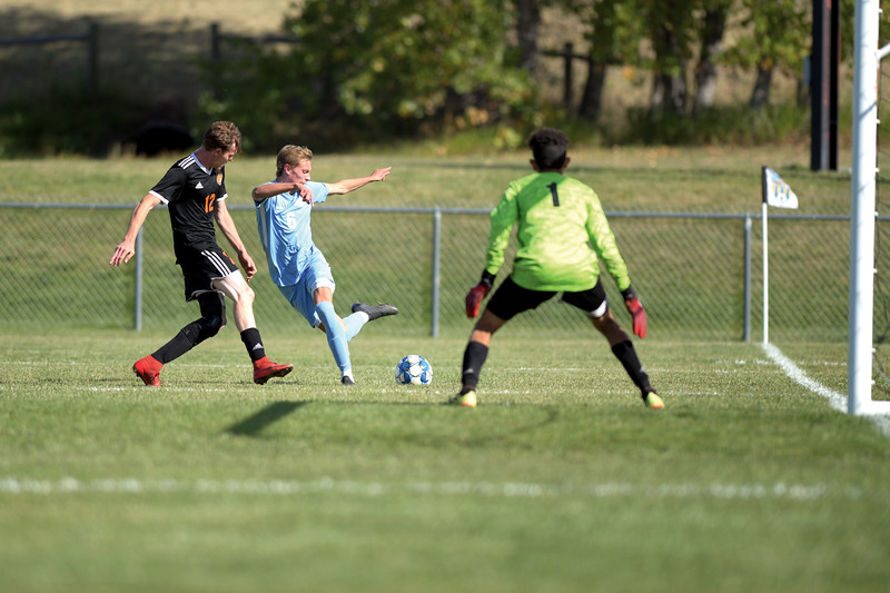 Matthew Gaston | The Sheridan Press<br>Sheridan College's Rylan Mocko (6) tries a fancy cross with his back leg during play against Central Community College Friday, Oct. 4, 2019.