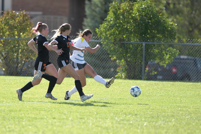 Matthew Gaston | The Sheridan Press<br>Central Community College's defense could not stop Sheridan College's Elizabeth Pickett from scoring her first goal of the game despite double coverage Friday, Oct. 4, 2019.