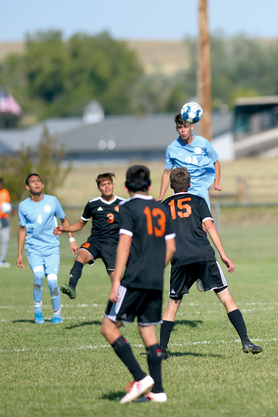 Matthew Gaston | The Sheridan Press<br>Sheridan College's Nathan Beraldo (24) heads the ball down out of the air after a Central Community College goal kick at Maier Field Friday, Oct. 4, 2019.