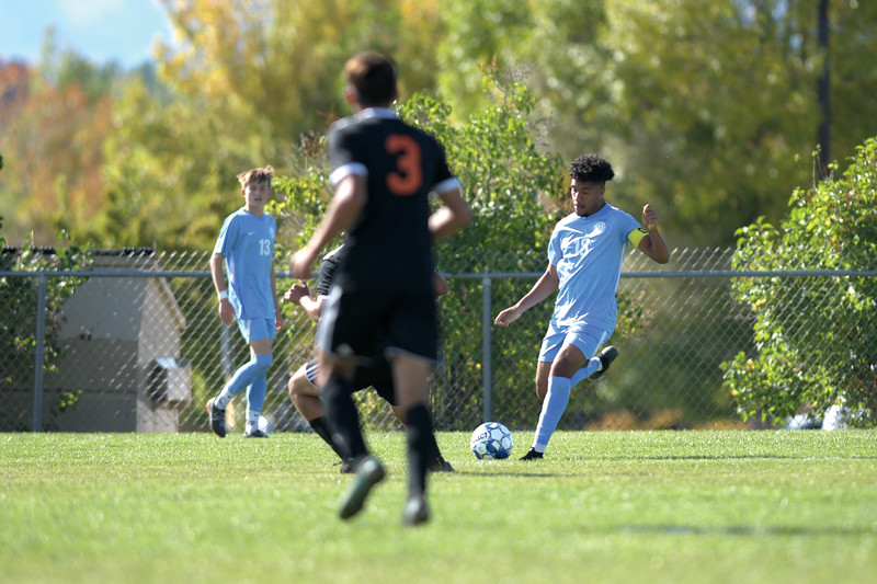 Matthew Gaston | The Sheridan Press<br>Sheridan College's Marques Scott (18) brings the ball down the pitch at Maier Field Friday, Oct. 4, 2019.