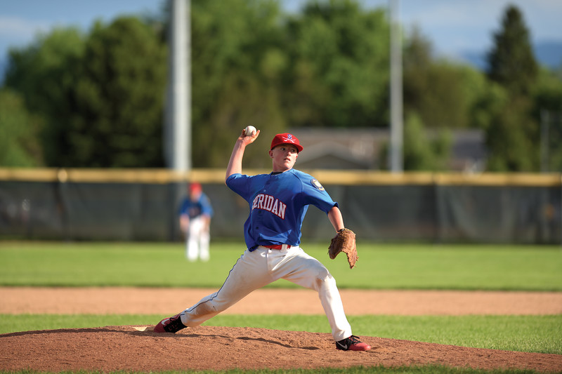Matthew Gaston | The Sheridan Press<br>Sheridan's Lathe Brown (4) takes over the pitching responsibilties for Anthony Carlson in the fifth inning against Belgrade Thursday, June 13, 2019.