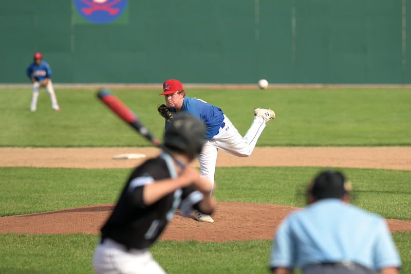 Matthew Gaston | The Sheridan Press<br>Sean Barrett (41) fires in a pitch during the first inning against Belgrade Thursday, June 13, 2019.