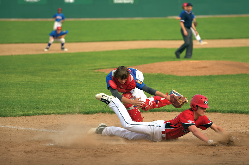 Matthew Gaston | The Sheridan Press<br>Sheridan's Hunter Stone just misses the tag allowing Gillette to score Friday, May 31, 2019.