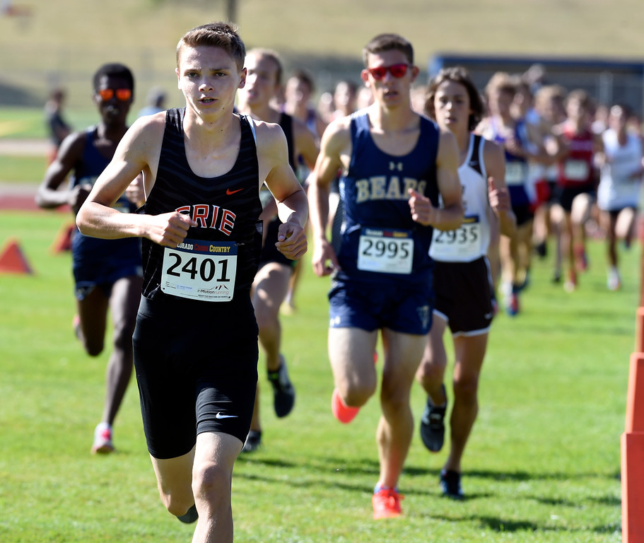 . LYONS, CO: September 8:   Jamison Cartwright, of Erie, during the St Vrain Invitational Cross Country Meet. (photo by Cliff Grassmick/Staff Photographer).
