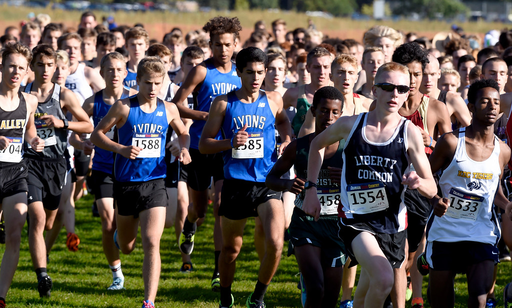 . LYONS, CO: September 8:  The Lyons boys in the 2A/3A race of  the St Vrain Invitational Cross Country Meet. (photo by Cliff Grassmick/Staff Photographer).