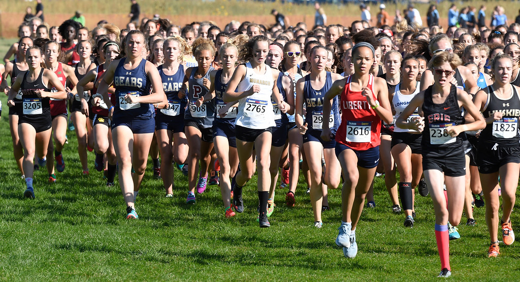 . LYONS, CO: September 8:  The 2A/3A girls race during the St Vrain Invitational Cross Country Meet. (photo by Cliff Grassmick/Staff Photographer).