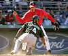 March 27, 2006, Fort Myers, Fla.: Boston Red Sox pitcher Julian Tavarez, top, winds through a punch to the head of Tampa Bay Devil Rays base runner Joey Gathright after he slid into Tavarez while trying to score on a hit by Julio Lugo in the eighth inning of their spring training baseball game. Both benches cleared after the incident. (AP Photo/Brita Meng Outzen)