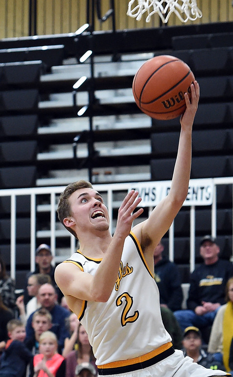 . Thompson Valley\'s #2 Jeremy Wagonmaker goes up for a shot during their game against Greeley Central on Friday, Jan. 20, 2017, at Thompson Valley High School in Loveland. (Photo by Jenny Sparks/Loveland Reporter-Herald)
