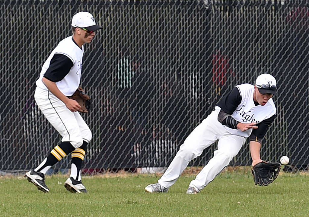 . Thompson Valley\'s #2 Matt Berg catches the ball during their game against Greeley Central Wednesday, April 26, 2017, at Constantz Field in Loveland. (Photo by Jenny Sparks/Loveland Reporter-Herald)