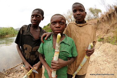 3 local boys eating sugar cane along the river