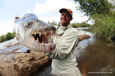Jeff Currier with his 18lb Tiger Fish caught on a fly