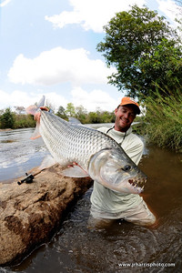 18 lb Tiger fish caught by Jeff Currier in Tanzania