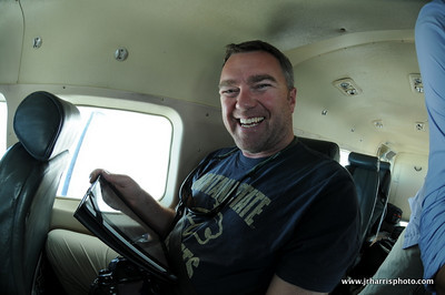 Jim Klug enjoying the flight from Dar Es Salaam to camp