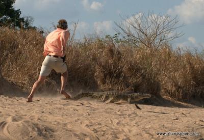 Rob chasing a Croc